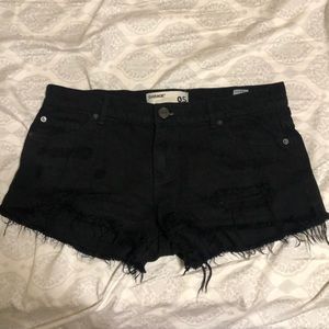 black jean shorts from garage
